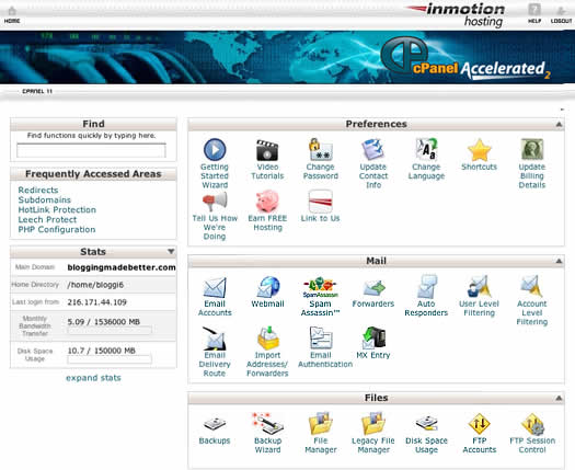 Inmotion Hosting cPanel