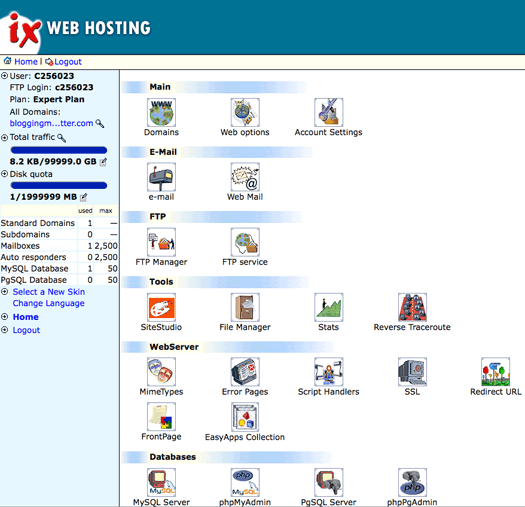 IX Web Hosting Control Panel Screen Shot