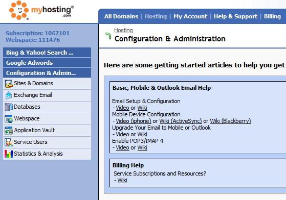 MyHosting.com Panel Screen Shot